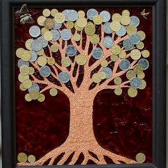 """Картина на стекле ′Денежное дерево"""""""