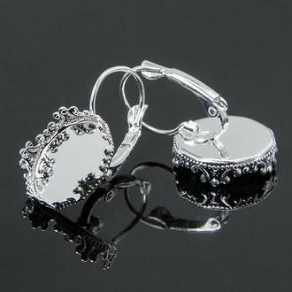 Основа для серег (швензы) с ажурным бортком серебро 1,5см