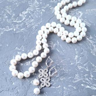 Комплект прикрас з натуральних перлів намисто і сережки № 332