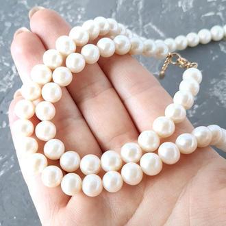 Намисто та браслет з натуральних перлів у позолоті