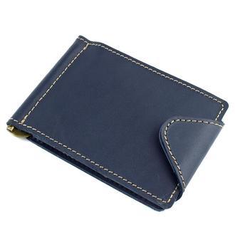Кожаный зажим для денег Crez-3 (синий)