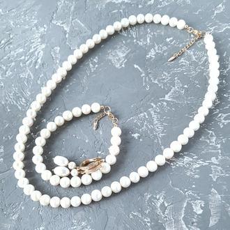 Весільний чи святковий комплект з натуральних перлів у позолоті