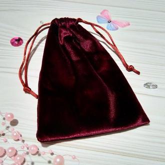 Подарочный мешочек из бархата 10 х 16 см (бархатный мешочек, мешочек для украшений) цвет -бордо