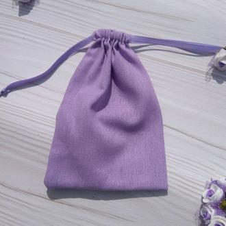 Подарунковий мішечок з льону 13*18 см (лляний мішечок, мішечок для прикрас) колір - бузковий