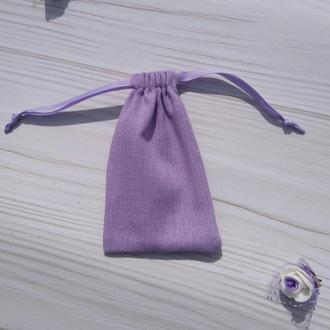 Подарунковий мішечок з льону 8*12 см (лляний мішечок, мішечок для прикрас) колір - бежевий
