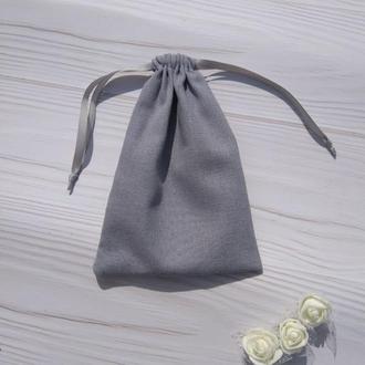 Подарунковий мішечок з льону 13*18 см (лляний мішечок, мішечок для прикрас) колір - сірий