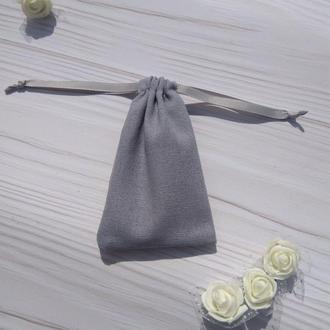 Подарунковий мішечок з льону 8*12 см (лляний мішечок, мішечок для прикрас) колір – сірий