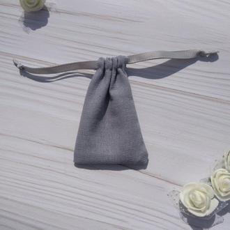 Подарунковий мішечок з льону 6*9 см (лляний мішечок, мішечок для прикрас) колір – сірий