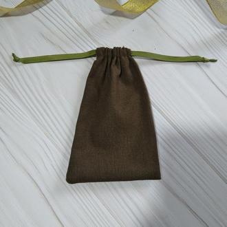 Подарунковий мішечок з льону 10*16 см (лляний мішечок, мішечок для прикрас) колір – хакі