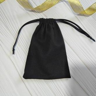 Подарунковий мішечок з льону 13*18 см (лляний мішечок, мішечок для прикрас) колір – чорний