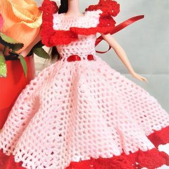 Ажурное нарядное летнее бальное розовое с красным платье на Барби