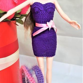 Коктейльное летнее платье фиолетовое на Барби