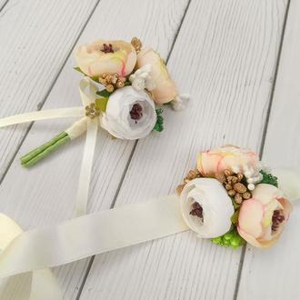 Весільні бутоньєрки для наречених та свідків арт. 1116