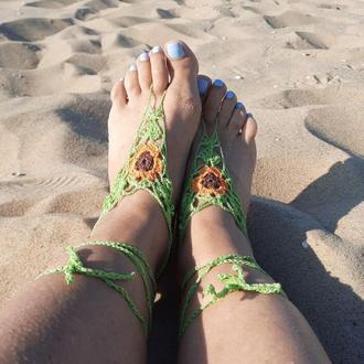 Салатовый с оранжевым цветком пляжные слейвы браслеты на стопы Вязаное украшение  на ноги.