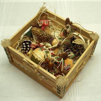 Новогодний набор игрушек «Санта» 10 шт.+ящик, экостиль, натуральное дерево