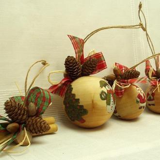 Новогодний набор игрушек «Санта» 7 шт.+пакет, экостиль, натуральное дерево