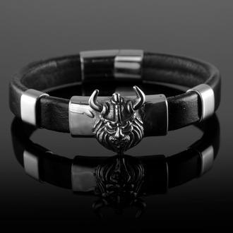 Мужской браслет из натуральной кожи Спартанец.Сталь.