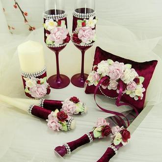 Свадебный набор бордовый / Набір для весілля марсала / Нежно-розовый набор