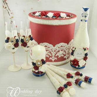 Свадебный набор бордовый / Бордовй набір для весілля / Темно-синий набор / Марсала / Сапфировый