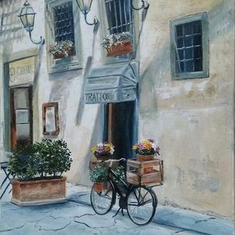 Старый город. Городской пейзаж, картина маслом, 40х30
