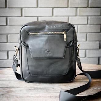 Черная мужская кожаная сумка