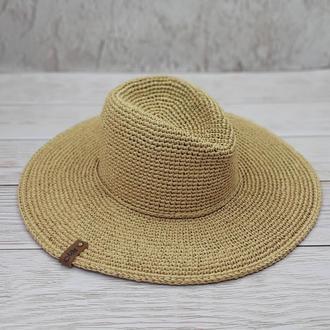 """Шляпа из рафии """"Федора"""""""