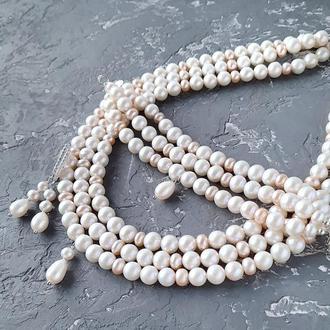 Комплект  з натуральних перлів високого класу у сріблі