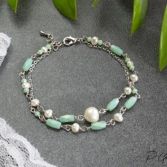 Нежный двурядный браслет мятного цвета с натуральным речным жемчугом