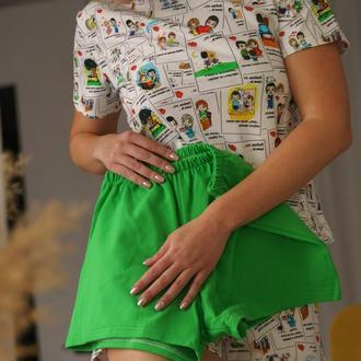Женская трикожная пижама с футболкой и зелёными шортами Love is