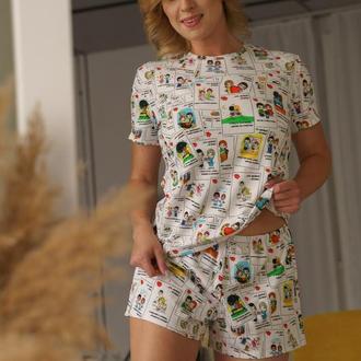 Женская трикожная пижама с футболкой и шортами Love is