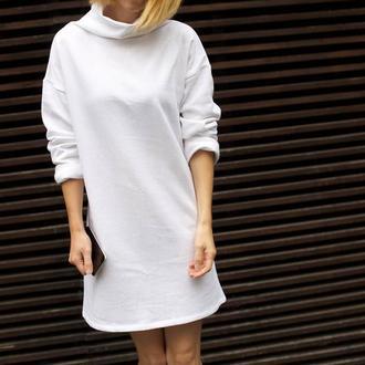 Белое платье, теплое платье на байке, на флисе, теплая туника. Красивое платье, уютное платье