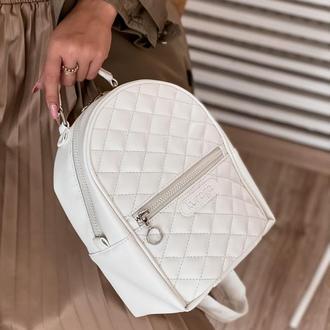 Рюкзак белый женский стеганный большой