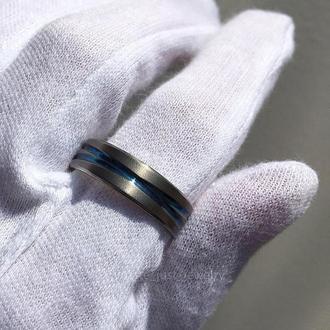 Кольцо из титана с бирюзовыми полосками