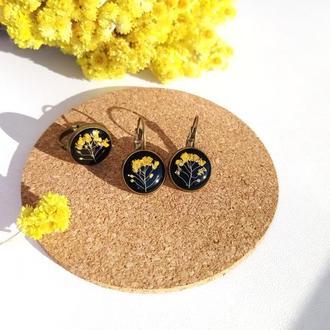 Сережки та каблучка з квітами, прикраси з епоксидної смоли