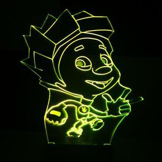 Нолик, ночник, светильник, LED лампа, фиксики, игрушка, подарок мальчику, на день рождения, декор