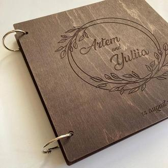Свадебная гостевая книга | Размер 21х21 см | Деревянная книга пожеланий