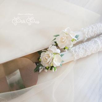 Прибори для торта белоснежные / Белый декор / Столовые приборы