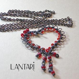Плетёный кулон «Ажурное сердце»