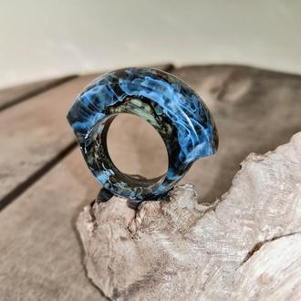 Деревянное кольцо ручной работы эпоксидная смола-подарок девушке, голубое кольцо (р,17,0-17,25)