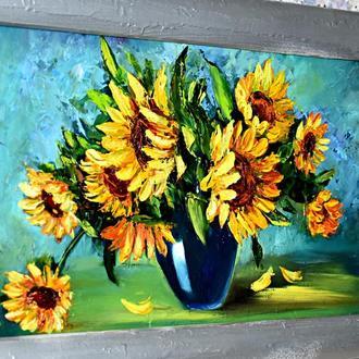 Подсолнухи, солнечные цветы, пастозная натюрморт, живопись, размер 40х20см