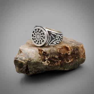 Перстень Черное Солнце, серебро 925
