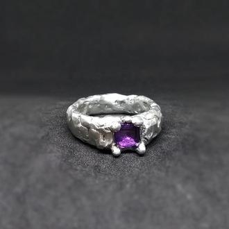 Кольцо Рurple, аметист, олово, медь, серебро, сплав