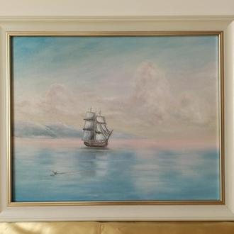 Картина маслом. Море. Штиль. 40х50 см