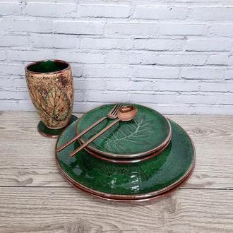 Зеленая керамическая тарелка 27 см, Глиняная тарелка с листом растений. Органическая посуда