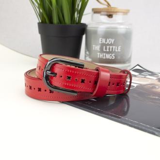 Ремінь шкіряний жіночий з перфорацією червоний PS-2567 (115 см)