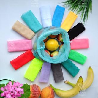 Еко мішечки 14 кольорів, еко пакети для покупок, сіточки,