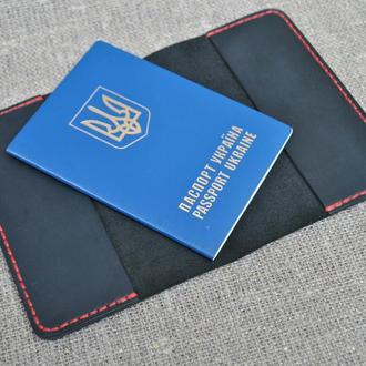Обложка для паспорта из натуральной черной кожи P01-0+red