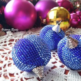 Шарики для елки, Новогоднее украшение набор 3 синих шарика в подарочной коробке