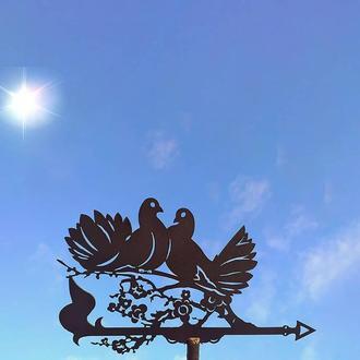 "Флюгер на крышу дома ""Голуби, Птицы"" с металла 2 мм"
