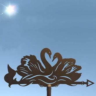 "Флюгер на крышу дома ""Лебеди, Лебеді"" с металла 2 мм"